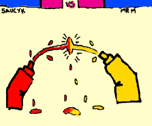 tomato sauce and Mustard have a food fight