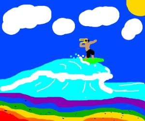 Cool dude surfs Rainbow Beach