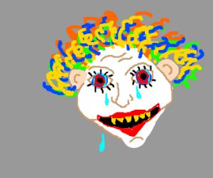 Creepy clown head sheds three tears.