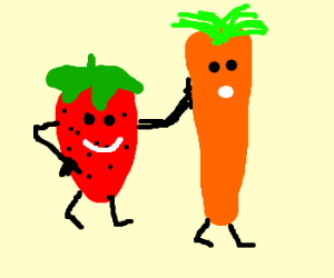 a strawberry poking a carrot