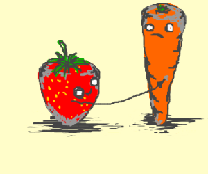 Strawberry is touching carrot inappropriately