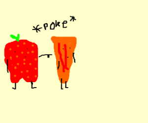 Strawberry pokes Carrot awkwardly.