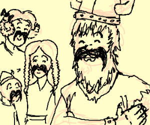Viking proud of family mustache.