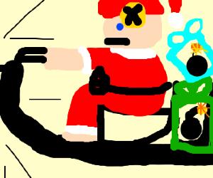 Crashtestdummy Santa rides sleigh w/ bombgifts