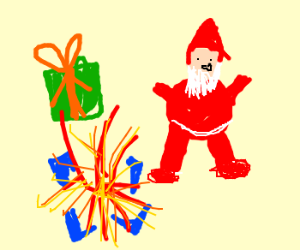 Santa with exploding presents!
