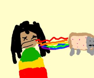 Jamaican vomits headless NYAN Cat
