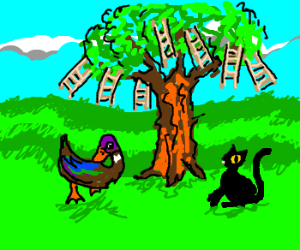 Duck and cat meet at ladder tree