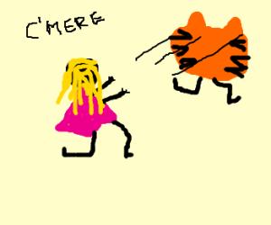 Girl chases Garfield's head