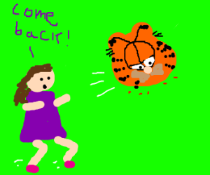Woman chasing after Garfield's head