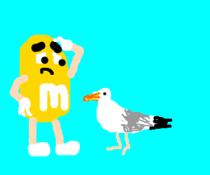 m and m is too large for seagull to eat