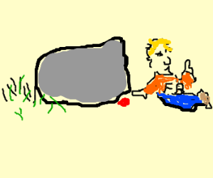 FB and drawception hides a red dot under stone