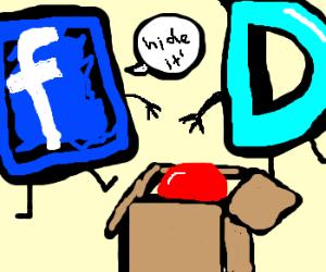 FaceBook an DrawCeption hides ball in box!