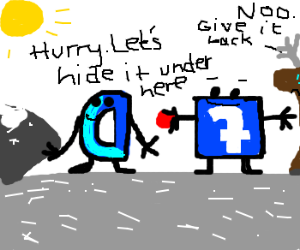 Facebook and Drawception hide Rudolph's nose.
