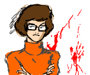 A resolute Velma stands near the crime scene.