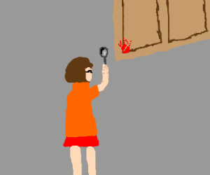 velma examines blood handprint