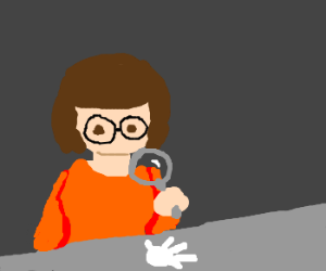 Velma studies hand print for clues