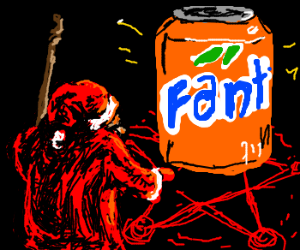 Santa conjures a giant can of fanta
