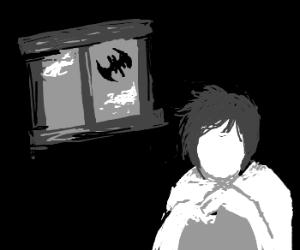 """Vampire """"Bat"""" outside faceless-boys house"""