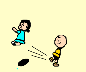 Charlie brown tries to kick Lucy, misses