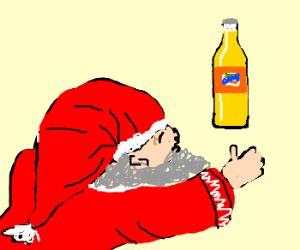 Santa worships a bottle of Fanta