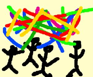 4 stickmen in a laser rave show.
