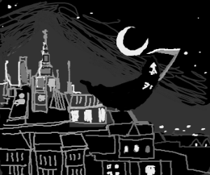 Grim Reaper flies over city at night
