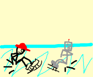 A man with a nice red hat and a robot fallice