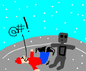 Angry man collides with a robot in ice