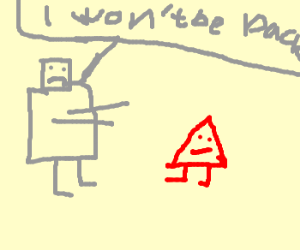 Angry Robot Attacks Triangle Girl