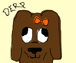 Derpy Dog with and orange bow