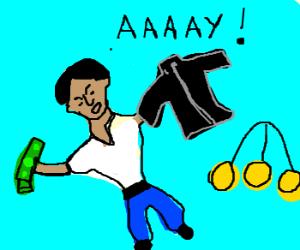 Fonzi sells his jacket for cash.