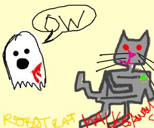 Grey Robot Cat Walks Away From Ghost In Pain