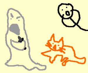Cat and Ghost aren't playing nicely!!!