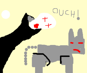 Vampire breaks fangs on kittybot's metal hide