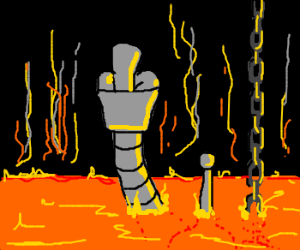 Termin...Bender lowered into the fiery depths.