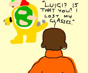 Velma confueses Bowser's back with Luigi