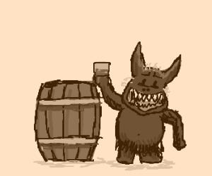 Wolf/Goblin creature takes drink near keg
