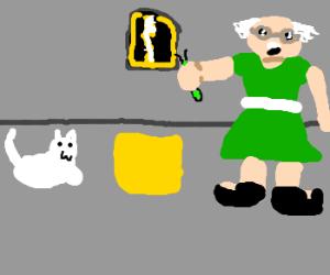 Crazy scientist in green dress