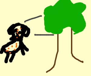 Dog w/ chicken pox staring at tree intimately