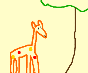 short giraffe can't reach leaves, is hungry