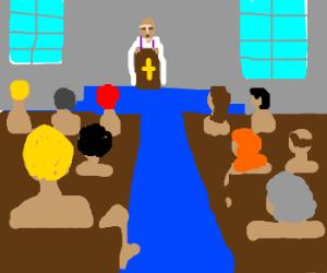 naked people watch priest's sermon