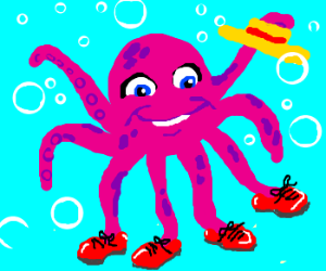Surprised octopus has red shoes