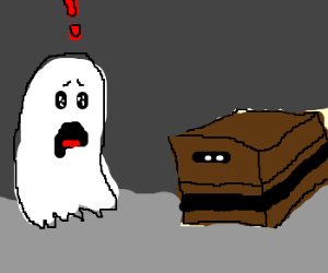 Ghost is frightened of the brown box