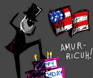 Abe Lincoln squishes a birthday cake