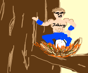 Johnny Cage as Egg-Laying Robin