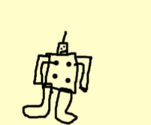 robot made of a die and a pair of socks