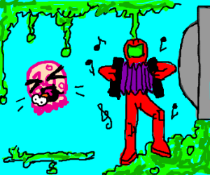 Samus plays accordion to sooth baby metroid