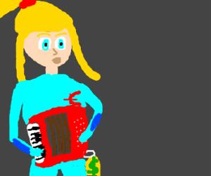 Samus sells accordions like a boss