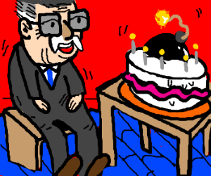 Stan Lee gets a bomb-cake for his birthday.
