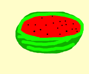 Watermelon with a slice cut off